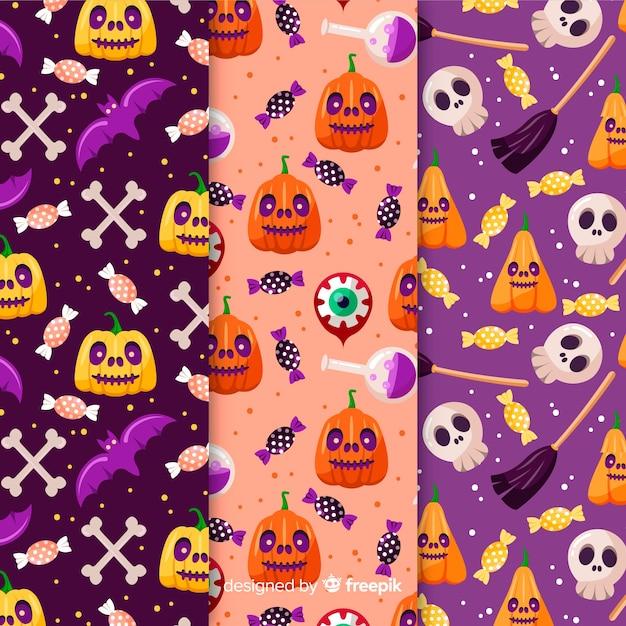 Pumpkin seamless pattern collection Free Vector