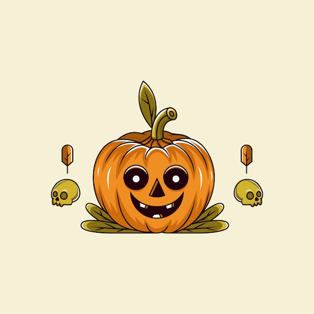 Pumpkin smile with skull bone cartoon character Premium Vector