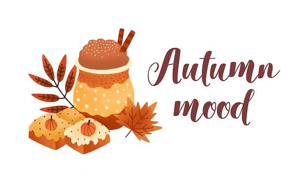 Pumpkin spice latte and biscuits flat vector illustration. Premium Vector