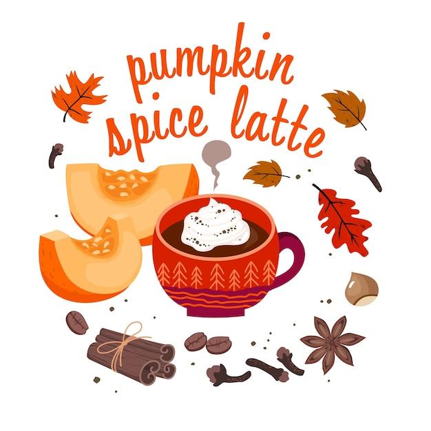 Pumpkin spice latte card: coffee cup, cinnamon, spices, coffee beans, autumn leaves, hazelnut, lettering. Premium Vector