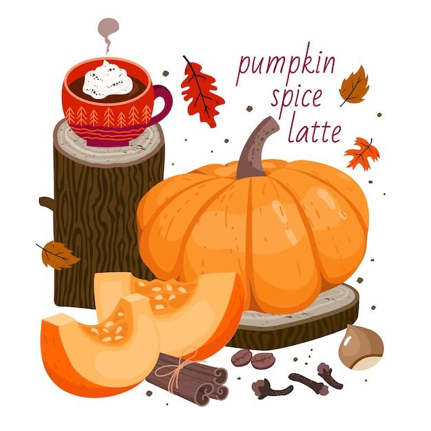 Pumpkin spice latte: coffee cup, large pumpkin, pumpkin slices, cinnamon, clove spice, hazelnut, coffee beans, autumn leaves, wooden decor elements Premium Vector