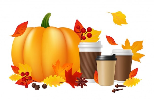 Pumpkin spice latte. realistic coffee cups pumpkin autumn leaves. hot autumn drinks  illustration Premium Vector