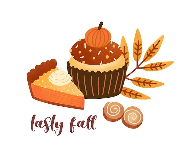 Тыквенное печенье с пряностями плоские векторные иллюстрации. вкусные десерты осеннего сезона и композиция из листьев с надписями Premium векторы