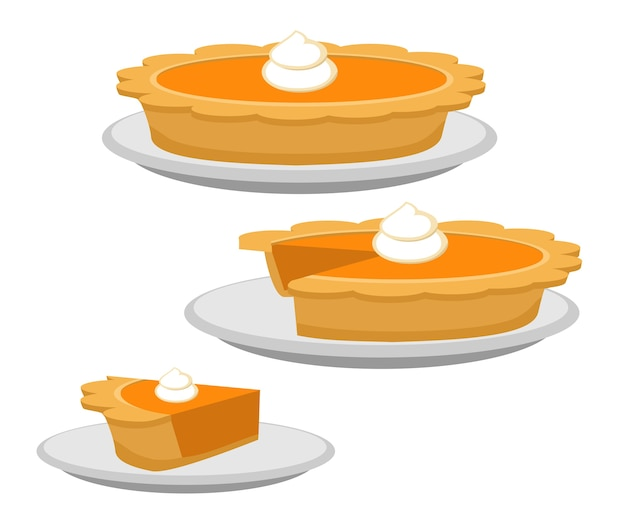 Premium Vector Pumpkin Or Sweet Potato Pie Whole And Slice Traditional American Thanksgiving Dessert Illustration Flat Cartoon Of Food On Happy Thanksgiving Menu On Dinner Table As Feast Concept