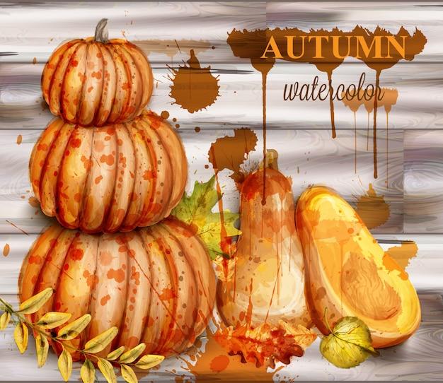 Pumpkin watercolor autumn poster Premium Vector