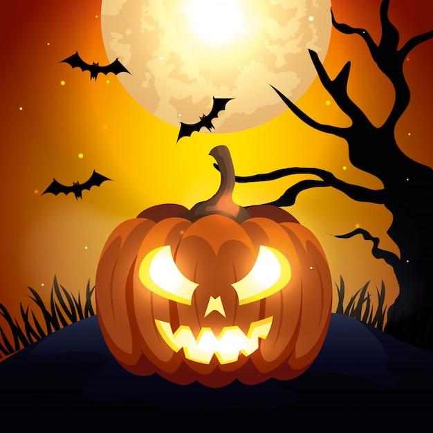 Pumpkin with bats flying in scene halloween Free Vector