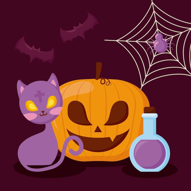 Pumpkin with cat and halloween concept Free Vector