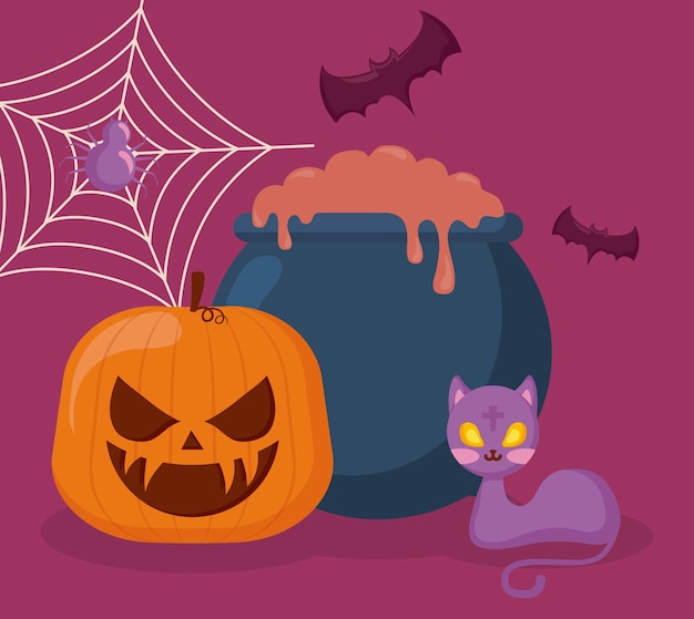 Pumpkin with cauldron and icons halloween Free Vector