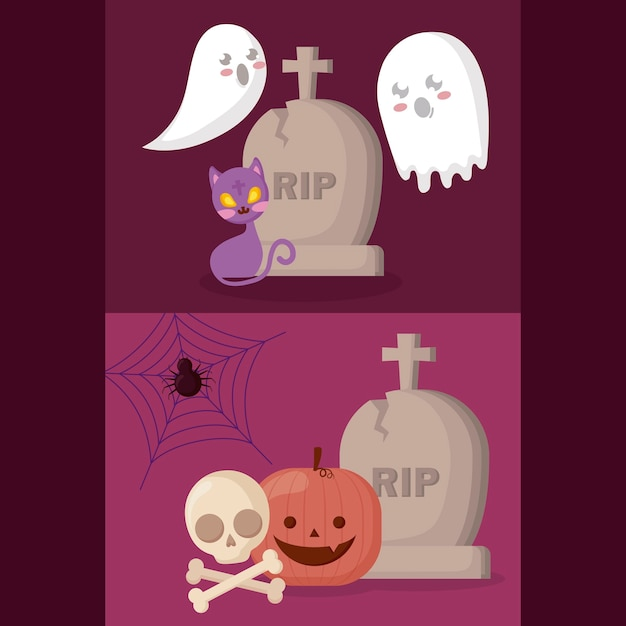 Pumpkin with halloween concept Free Vector