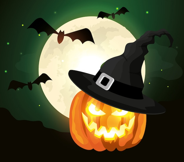 Pumpkin with hat witch and bats flying in halloween scene Free Vector