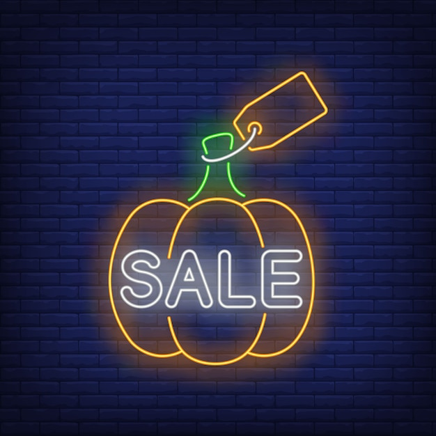 Pumpkin with label neon sign Free Vector