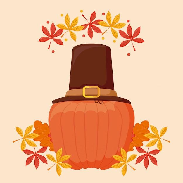 Pumpkin with pilgrim hat of thanksgiving day Premium Vector