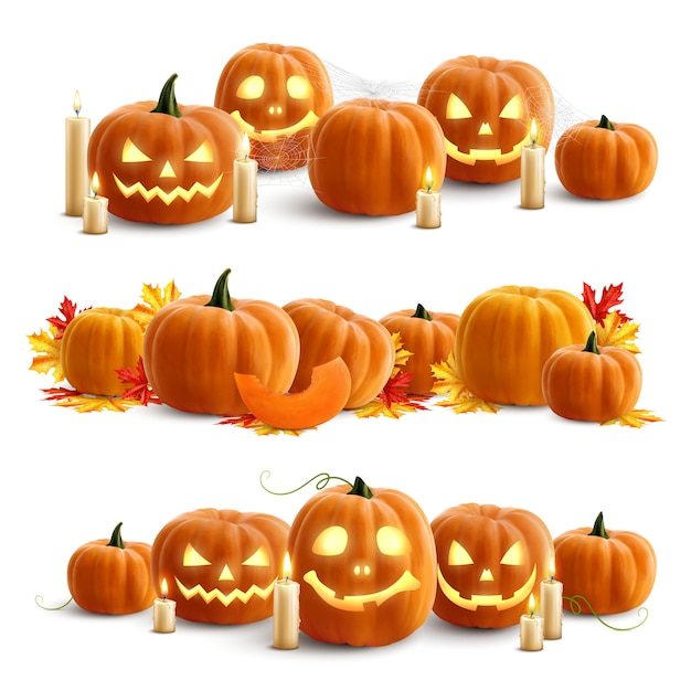 Pumpkins and candles realistic compositions Free Vector