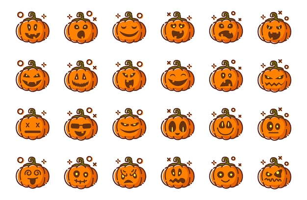 Pumpkins emoji for halloween, isolated , icons on white, funny creepy characters Premium Vector