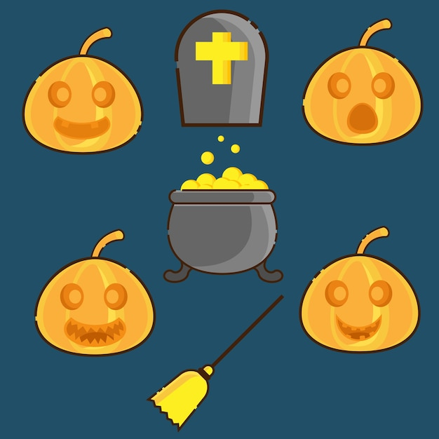 Pumpkins face and halloween symbol Premium Vector