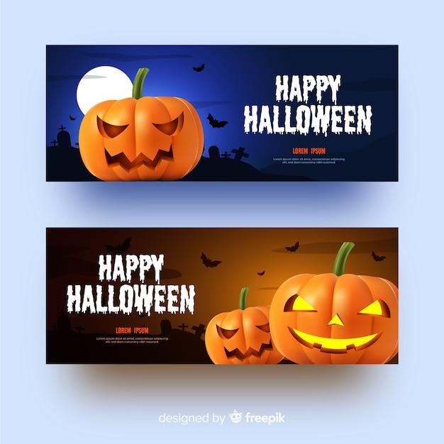 Pumpkins realistic halloween banners Free Vector