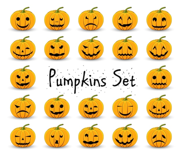 Pumpkins set for halloween on a white isolated background Premium Vector