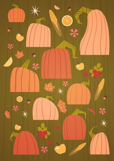 Pumpkins set harvest autumn concept vegetables and fruits collection Premium Vector