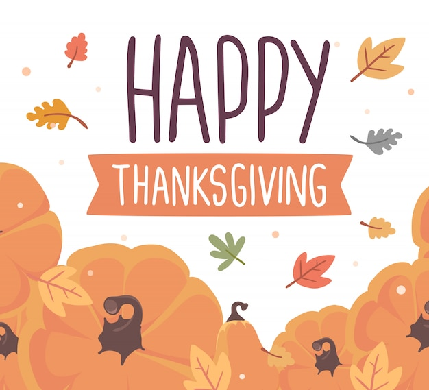 Pumpkins and text happy thanksgiving with autumn leaves on white Premium Vector