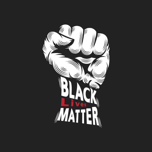 Punch and typo black lives matter design concept Premium Vector