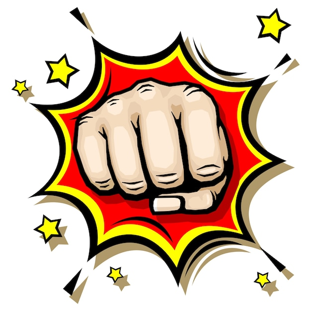 Punching hand with clenched fist Premium Vector