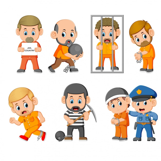 The punishment of the the criminal on the jail Premium Vector