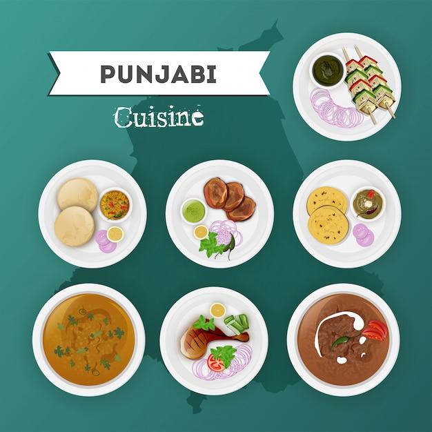 Punjabi cuisine set Premium Vector