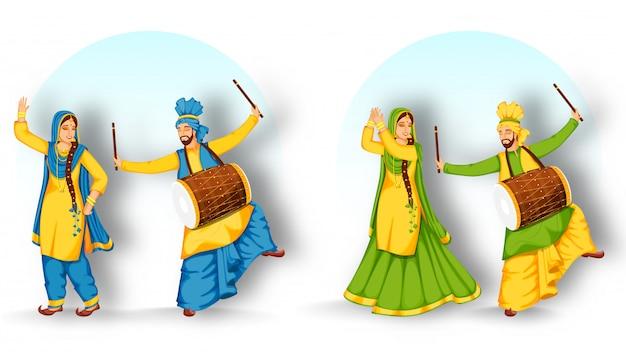 2つのオプションでdhol(ドラム)を演奏するパンジャブ男とバングラダンスを演奏する女性。 Premiumベクター