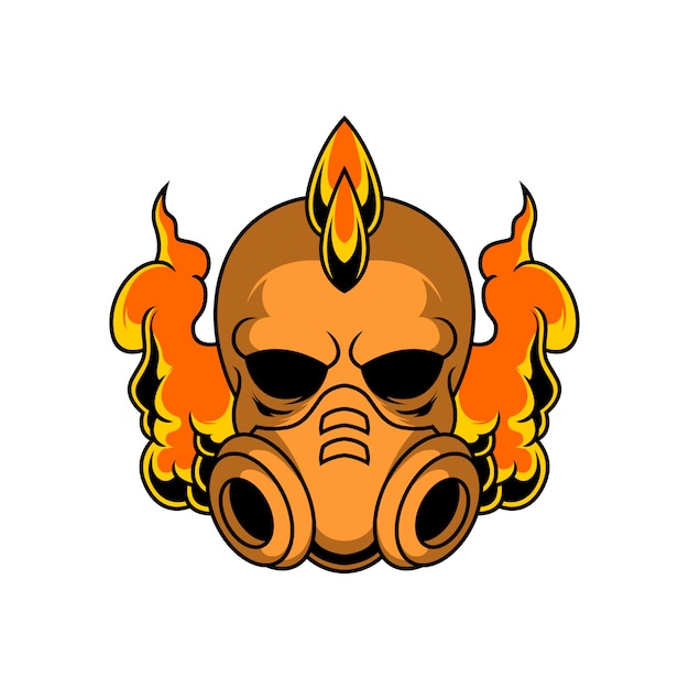 Punk skull with gas mask illustration Premium Vector