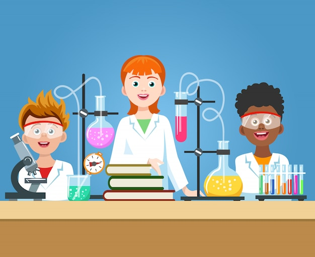 Pupils in chemistry lab Premium Vector