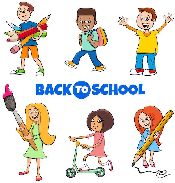 Pupils children back to school cartoon set Premium Vector