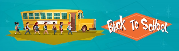 Pupils group walking to yellow bus riding back to school Premium Vector