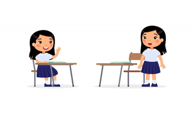 Pupils at lesson flat vector illustration Free Vector