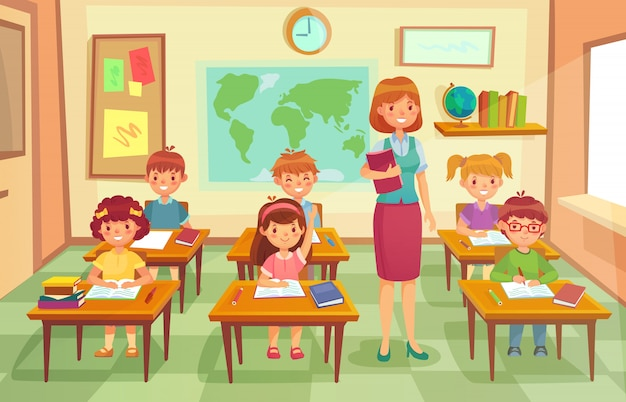 Pupils and teacher in classroom. cartoon illustration Premium Vector