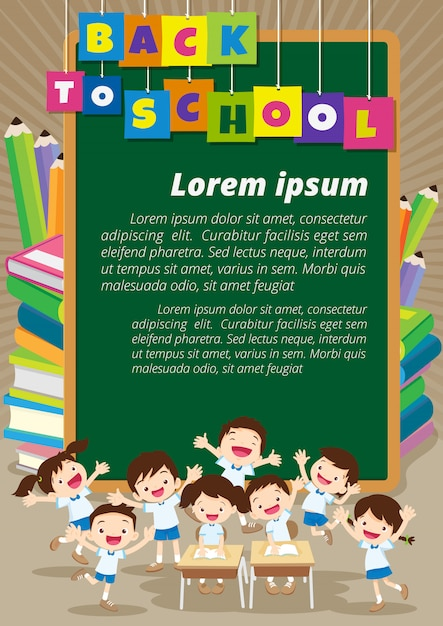 Pupils working at desk together at the school Premium Vector