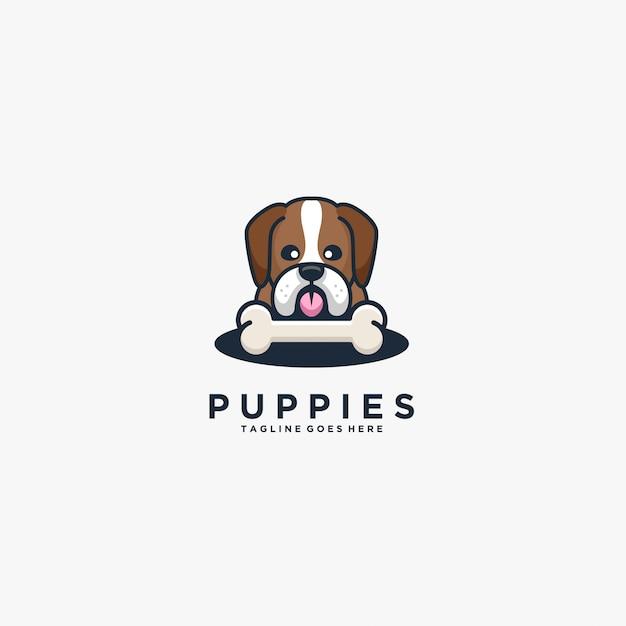 Puppies head dog with bone cute illustration  logo. Premium Vector