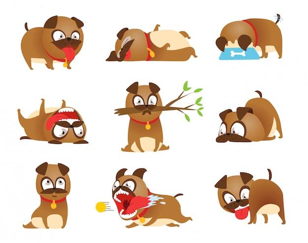 Puppy activity set. cartoon dog set. dogs tricks and action training Premium Vector