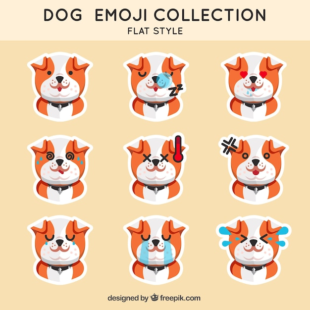 Puppy emoticon collection Vector | Free Download