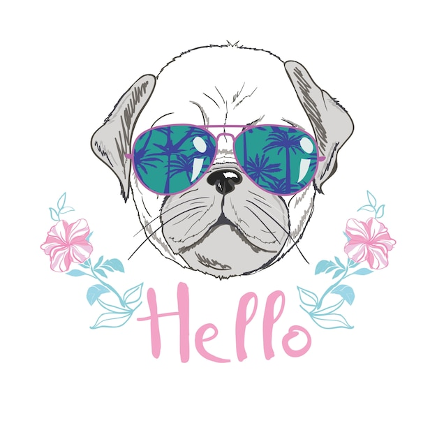 Puppy pug in a headband on pink background.  illustration. Premium Vector