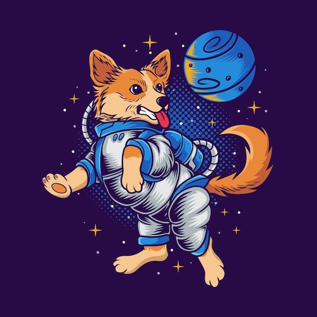 Puppy space illustration Premium Vector
