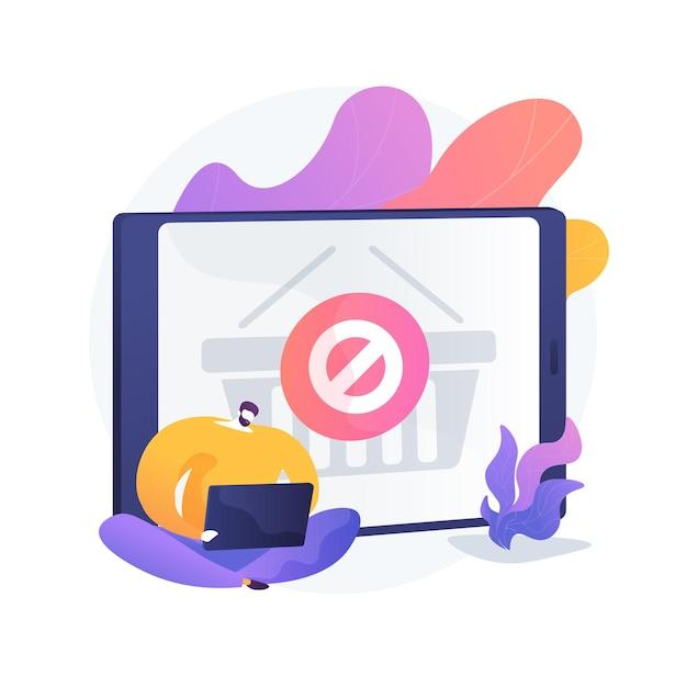 購入禁止、オンラインストアのウェブサイトエラー、購入のキャンセル。発注不能、購入制限、予算線。オンラインバイヤーの漫画のキャラクター。ベクトル分離された概念の比喩の図。 無料ベクター