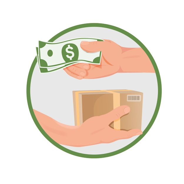 Purchase concept - hands with money and box Premium Vector