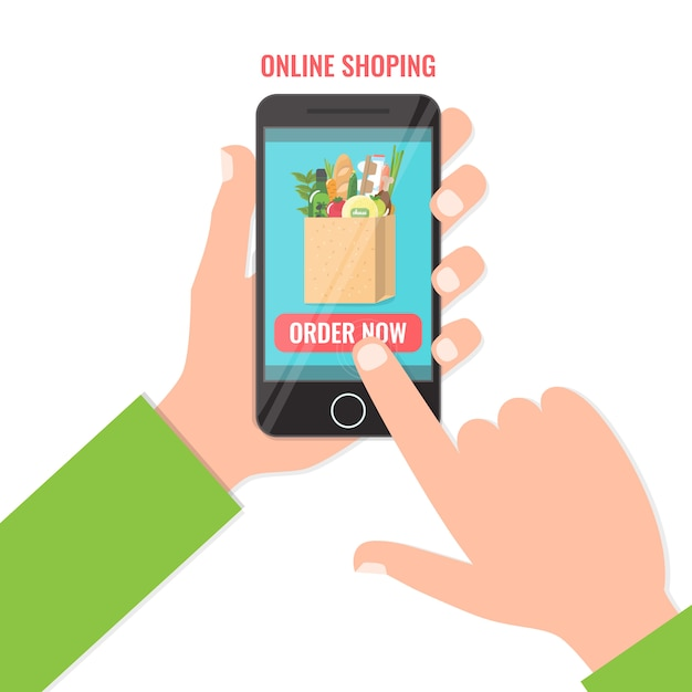 Purchase food online on the smartphone. shopping online business, order now concept. . Premium Vector