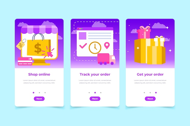 Purchase onboarding app screens Free Vector