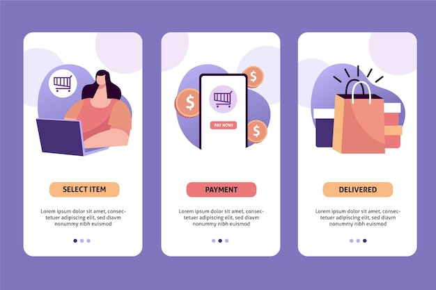 Purchase online concept with clients Free Vector
