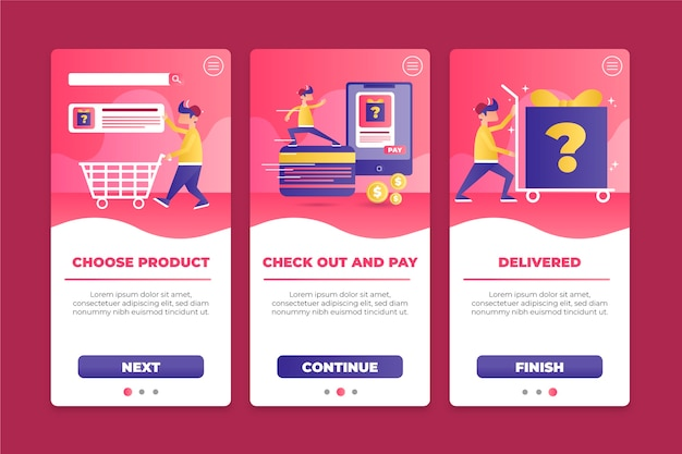 Purchase online onboarding app screen collection Free Vector