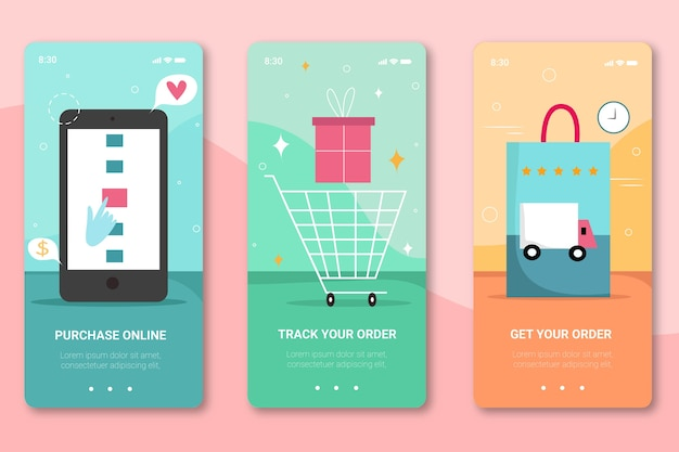 Purchase online onboarding app screens for mobile phone Free Vector