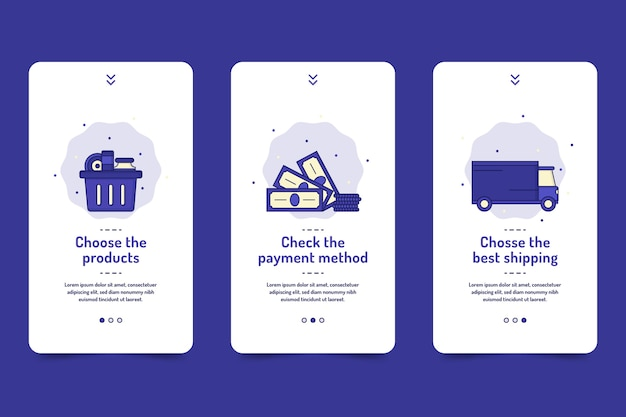Purchase online onboarding app screens pack Free Vector