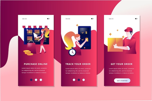 Purchase online onboarding app screens set Free Vector