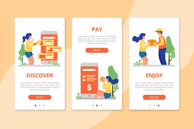 Purchase online onboarding app screens Free Vector